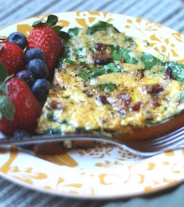 Bacon Spinach and Sweet Potato Frittata