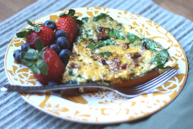 Bacon Spinach and Sweet Potato Frittata recipe by Barefeet In The Kitchen