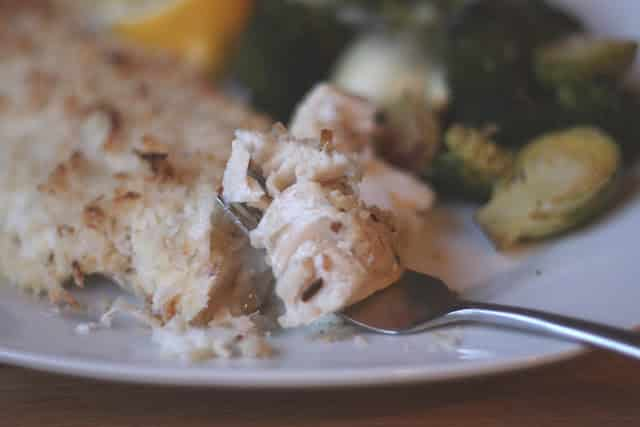 A close up of a plate of food, with Haddock and Coconut