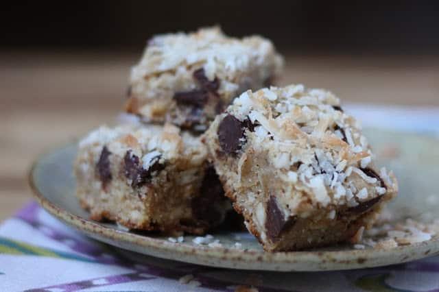Coconut Cashew Chocolate Chip Blondies - Gluten Free recipe by Barefeet In The Kitchen