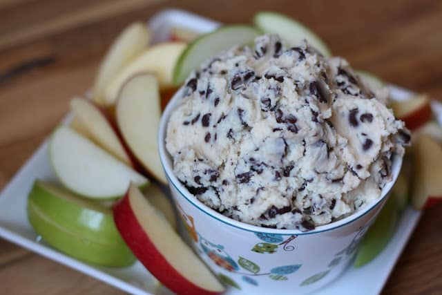 Chocolate Chip Cream Cheese Cookie Dough Dip recipe by Barefeet In The Kitchen