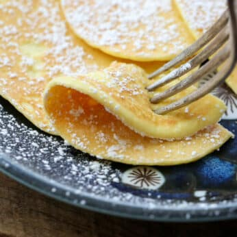 2 Ingredient Cream Cheese Pancakes can be made sweet or savory! get the recipe at barefeetinthekitchen.com