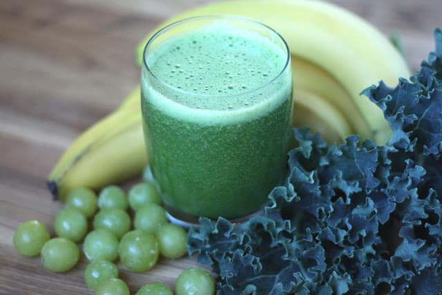 Orange Grape Banana Kale Smoothie recipe by Barefeet In The Kitchen