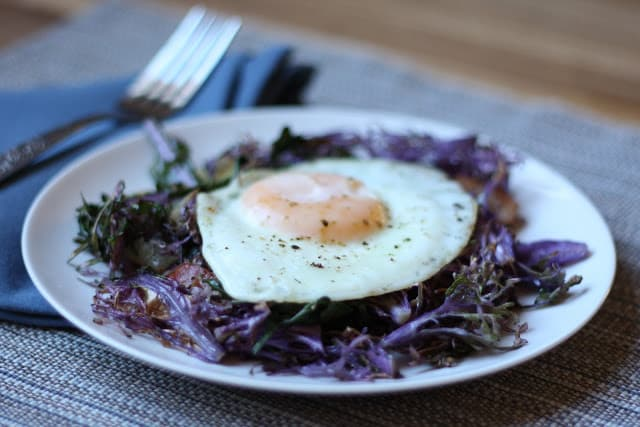 Eggs with Peacock Kale recipe by Barefeet In The Kitchen