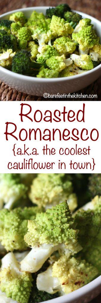 How To Roast Romanesco - get the recipe at barefeetinthekitchen.com