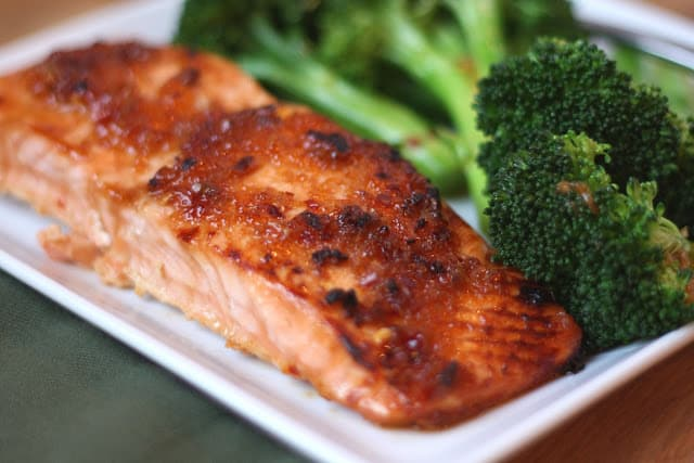Sweet and Spicy Glazed Salmon with Spicy Broccoli recipe by Barefeet In The Kitchen