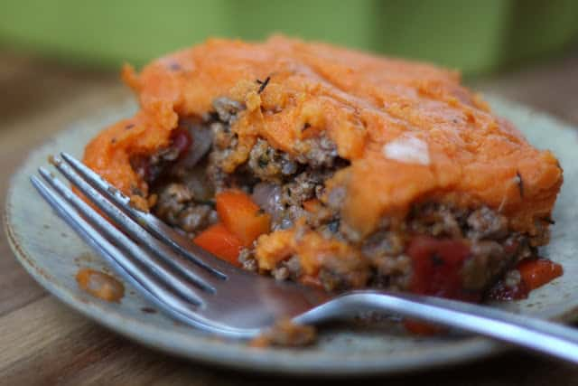 Sweet Potato Topped Rancher's Pie recipe by Barefeet In The Kitchen
