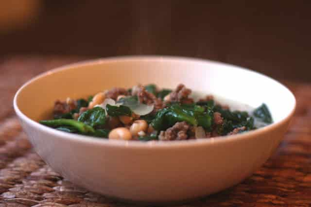 Italian White Bean, Spinach and Beef Soup recipe by Barefeet In The Kitchen