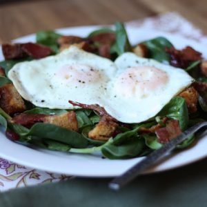 Breakfast Salad with Cinnamon Toast Croutons