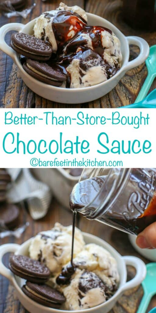Homemade Chocolate Sauce is so much better than store bought! get the EASY recipe at barefeetinthekitchen.com