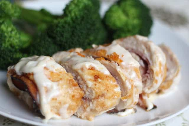 Chicken Cordon Bleu with a Creamy Wine Sauce recipe by Barefeet In The Kitchen