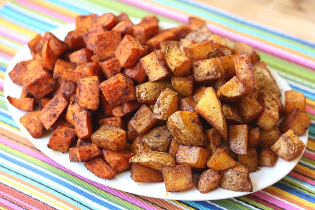 Cinnamon Chile Roasted Potato Bites recipe by Barefeet In The Kitchen