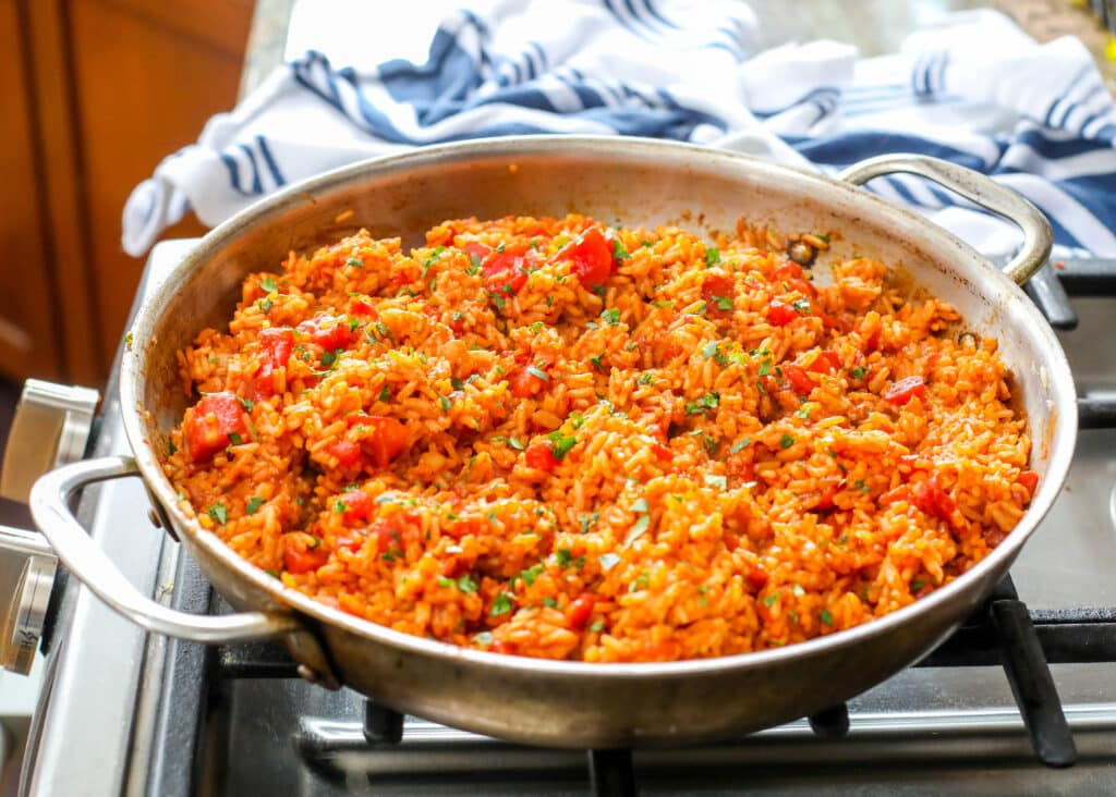 Spanish Rice recipe using pantry ingredients for an easy side dish.