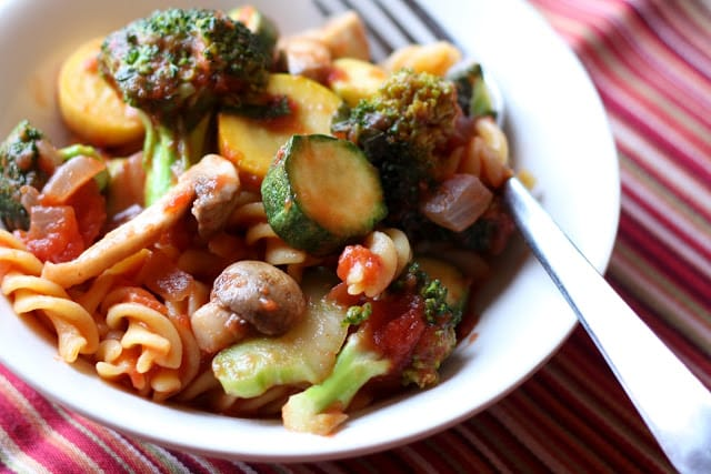 Summer Vegetable Pasta Skillet recipe by Barefeet In The Kitchen