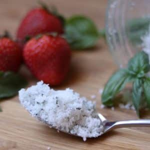 Sweet Basil Sugar with Strawberries