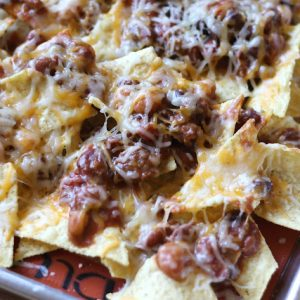 Cheesy Five Bean Chili Nachos