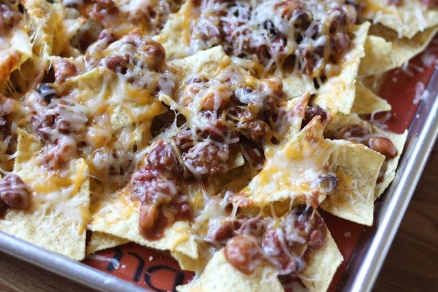 Cheesy Five Bean Chili Nachos recipe by Barefeet In The Kitchen