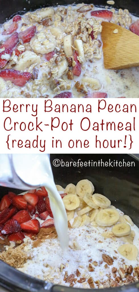 Slow Cooker Oatmeal is a breakfast WIN - get the recipe at barefeetinthekitchen.com