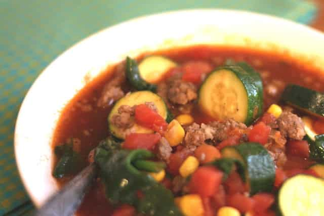 Spicy Mexican Bean and Vegetable Soup recipe by Barefeet In The Kitchen