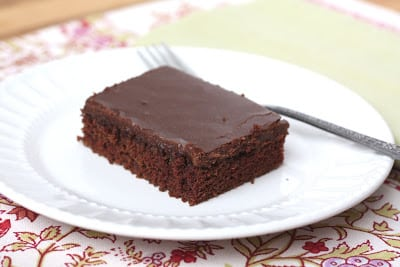 A piece of chocolate cake on a plate, with Chocolate chip and Sheet cake
