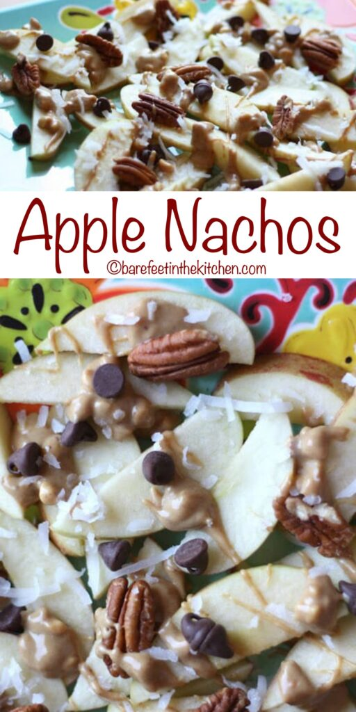 Apple Nachos are drizzled with peanut butter and sprinkled with coconut and pecans!