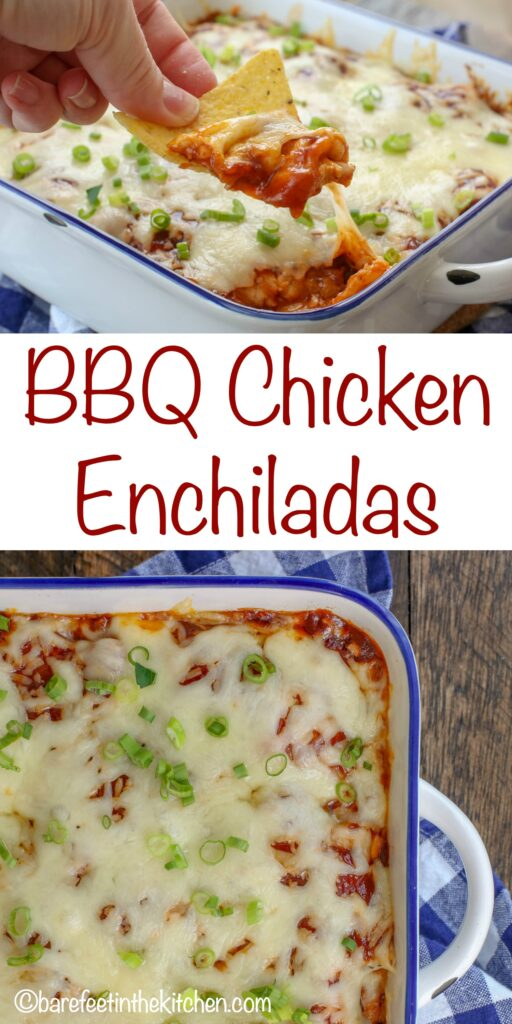 BBQ Chicken Enchiladas - get the recipe at barefeetinthekitchen.com