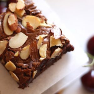 Chocolate Cherry Almond Brownies {traditional and gluten free recipes}