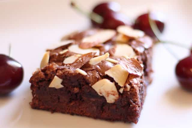 Chocolate Cherry Almond Brownies - Gluten Free or Not recipe by Barefeet In The Kitchen