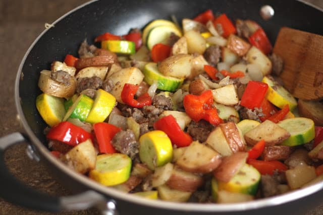 Bell Pepper and Zucchini Skillet with Spicy Sausage recipe by Barefeet In The Kitchen