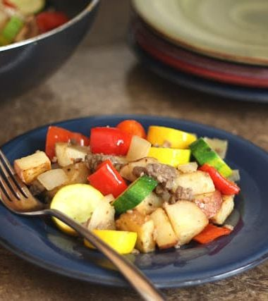 Bell Pepper and Zucchini Skillet with Spicy Sausage