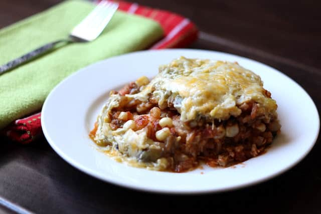 Southwestern Chicken Mexican Lasagna recipe by Barefeet In The Kitchen