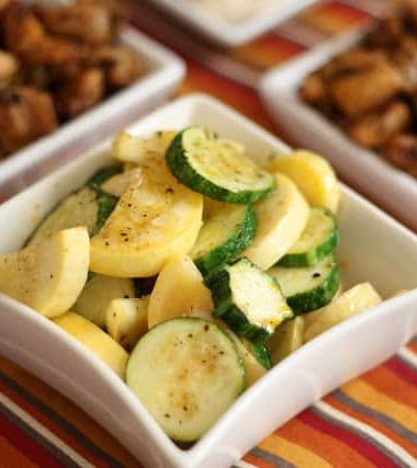 Sauteed Spiced Zucchini with Chicken Bits