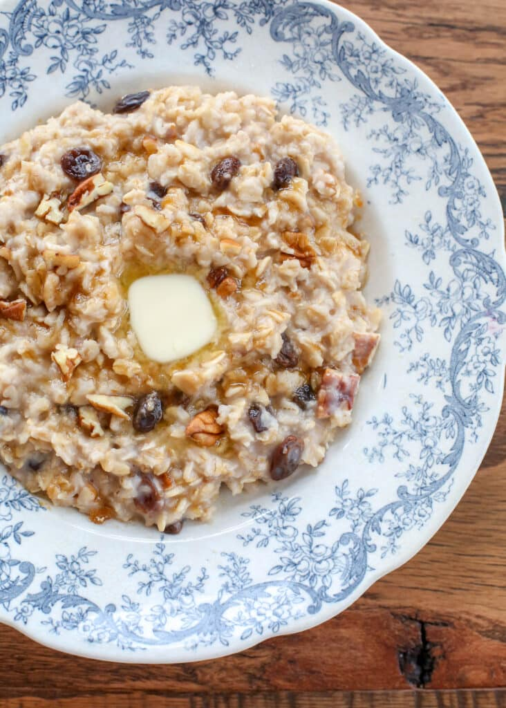 Nutty Raisin Oatmeal - get the recipe at barefeetinthekitchen.com