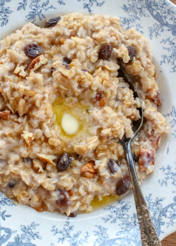 Nutty Raisin Stovetop Oatmeal - find out how we make it at barefeetinthekitchen.com
