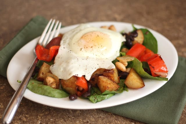 Potato, Red Pepper, Black and White Bean Hash recipe by Barefeet In The Kitchen