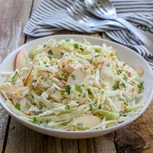 Sweet & Spicy Apple Coleslaw - get the recipe at barefeetinthekitchen.com