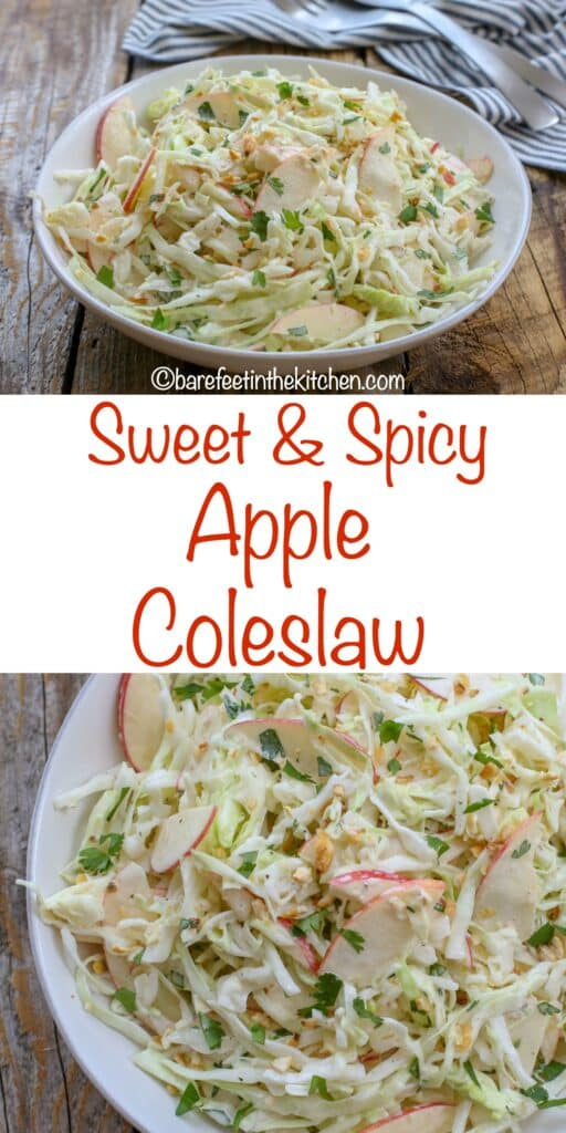 Everyone loves this Sweet & Spicy Apple Coleslaw with a crunchy topping! - get the recipe at barefeetinthekitchen.com