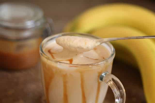 Caramel Peanut Butter Banana Milkshake Smoothie recipe by Barefeet In The Kitchen