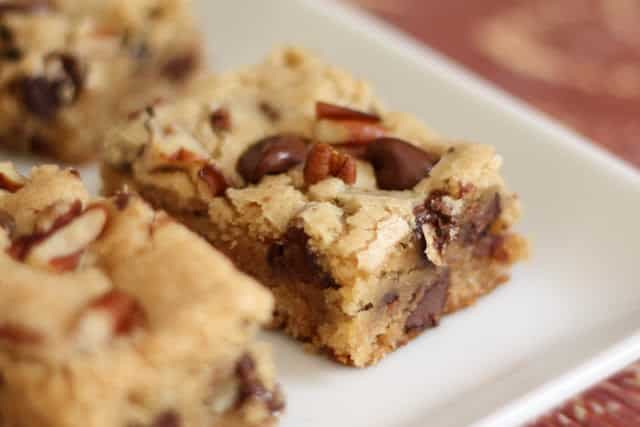 Chocolate Chip Pecan Blondies recipe by Barefeet In The Kitchen