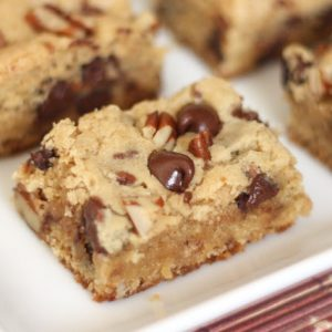Chocolate Chip Pecan Blondies {traditional and gluten free recipes}