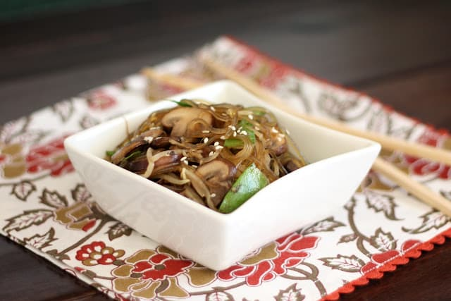 Glass Noodles with Mushrooms, Snow Peas and Sprouts recipe by Barefeet In The Kitchen