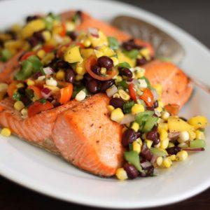 Salmon with Black Bean, Corn and Mango Salsa