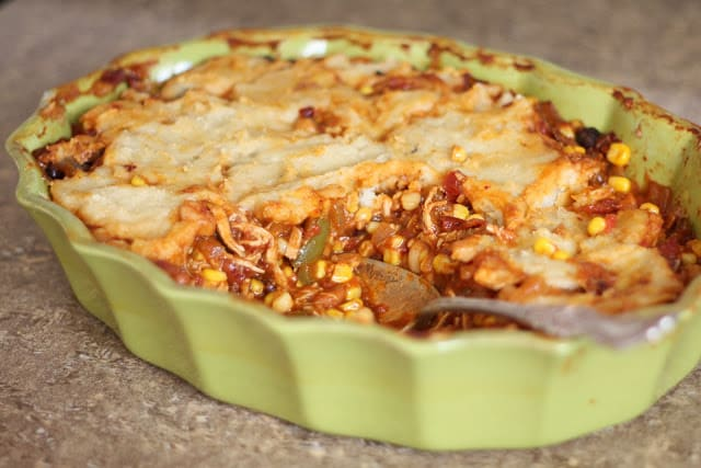 Spicy Chicken Tamale Pie recipe by Barefeet In The Kitchen