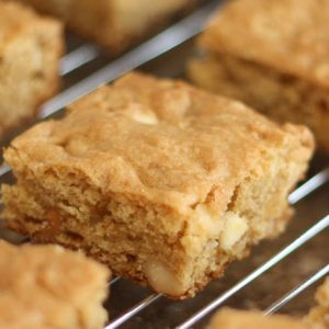 White Chocolate Macadamia Nut Blondies {traditional and gluten free recipes}