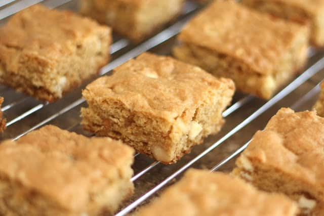 White Chocolate Macadamia Nut Blondies recipe by Barefeet In The Kitchen