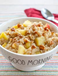 Apple Cinnamon Oatmeal - get the recipe at barefeetinthekitchen.com