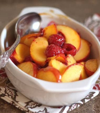 Baked Peaches and Raspberries with Lemon Curd