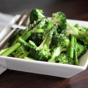 Sauteed Broccoli and Asparagus with Parmesan