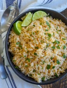 Chipotle Lime Rice makes an awesome side dish for any Mexican food! - get the recipe at barefeetinthekitchen.com