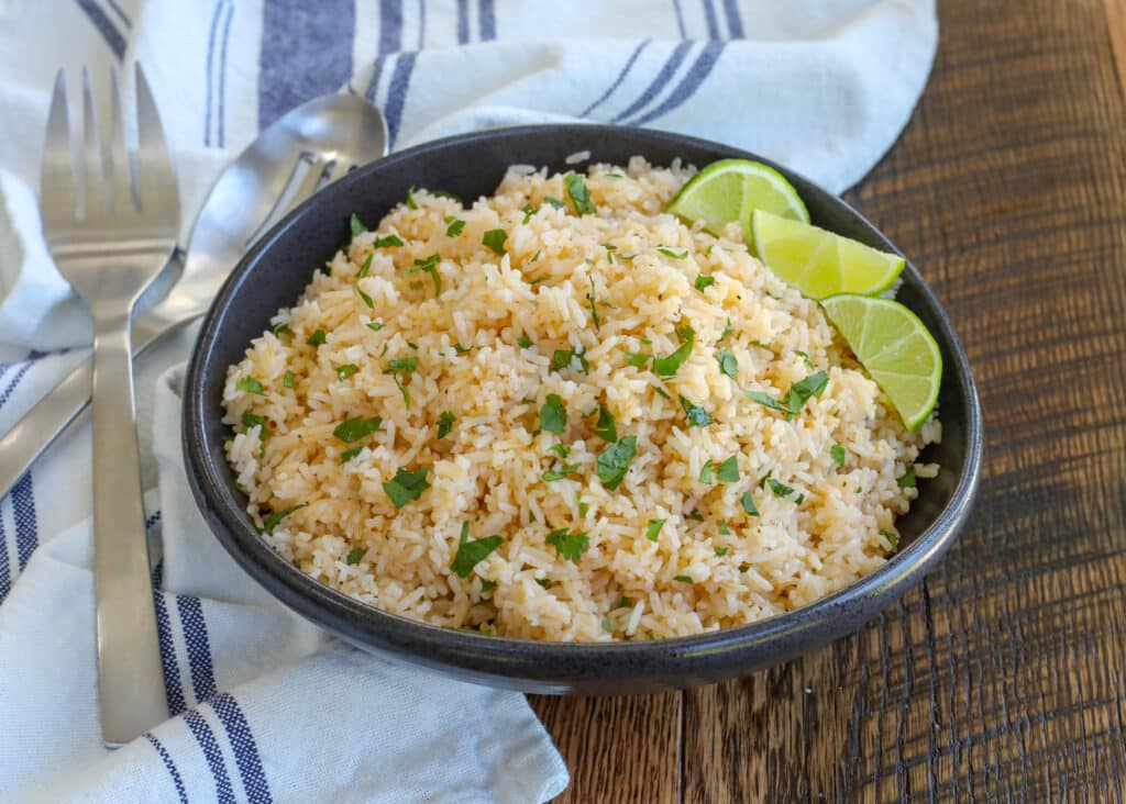 Chipotle Lime Rice - get the recipe at barefeetinthekitchen.com